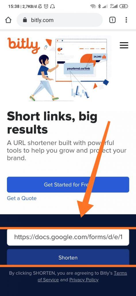 cara memperpendek link googleforms